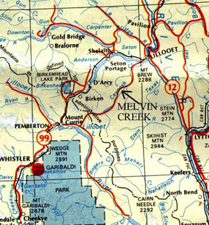 Melvin Creek - Road Map to camp